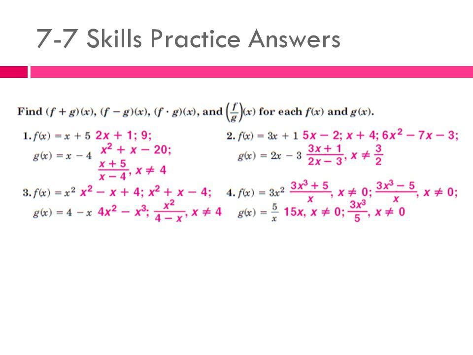 7-7 Skills Practice Answers