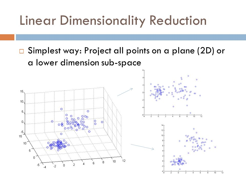  Simplest way: Project all points on a plane (2D) or a lower dimension sub-space Linear Dimensionality Reduction
