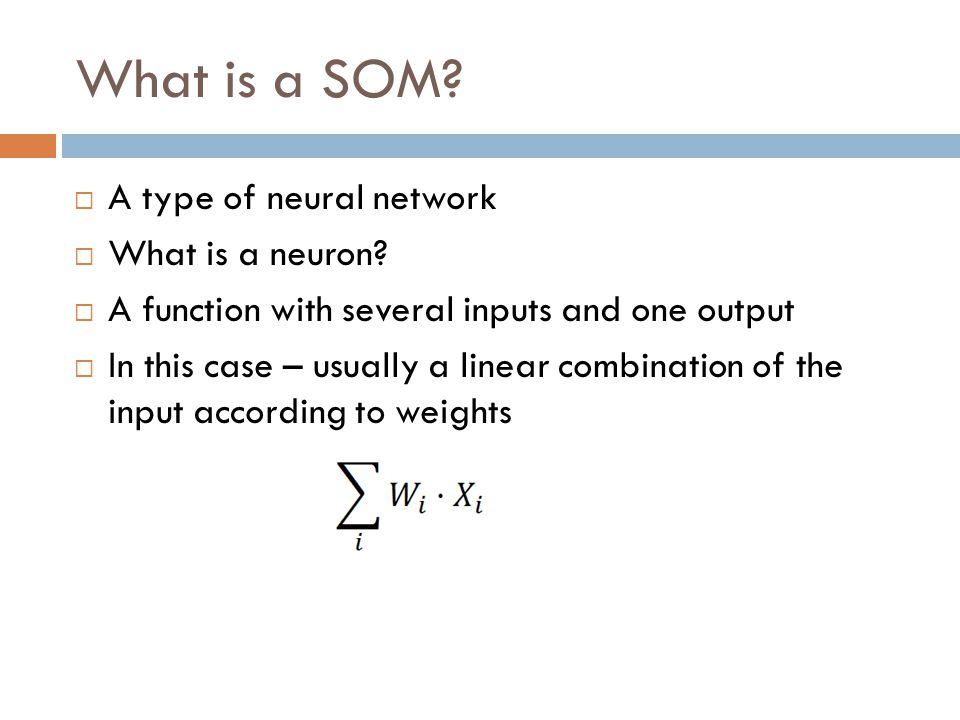 What is a SOM.  A type of neural network  What is a neuron.