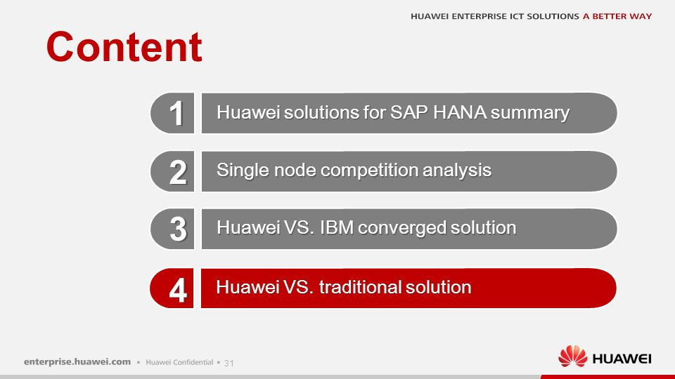 31 Content 1 1 2 2 3 3 4 4 Huawei VS. IBM converged solution Huawei solutions for SAP HANA summary Single node competition analysis Huawei VS. traditi
