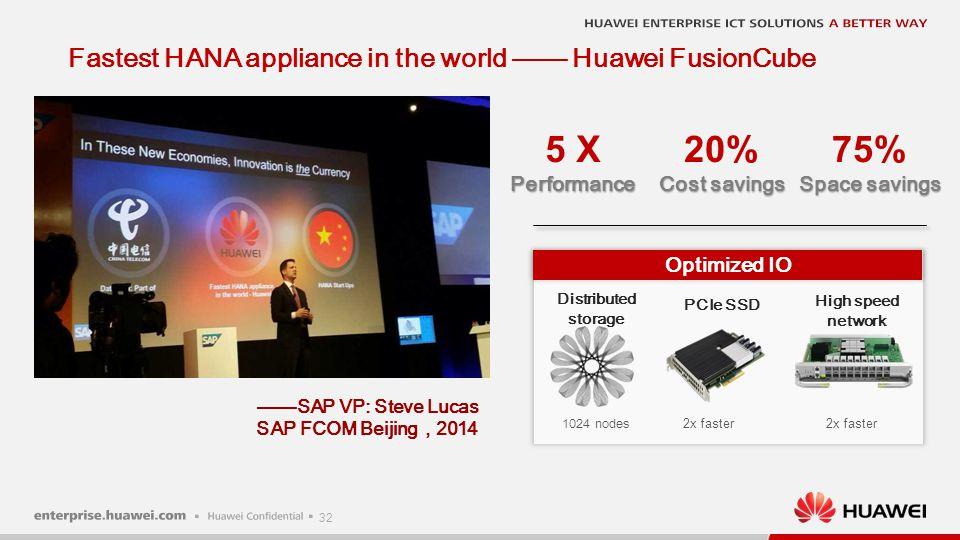 32 Fastest HANA appliance in the world —— Huawei FusionCube ——SAP VP: Steve Lucas SAP FCOM Beijing , 2014 Optimized IO 5 XPerformance 20% Cost savings