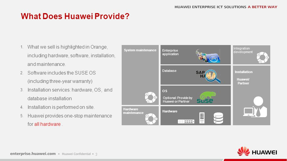 3 What Does Huawei Provide? Hardware OS Database Enterprise application Installation Hardware maintenance 1. What we sell is highlighted in Orange, in