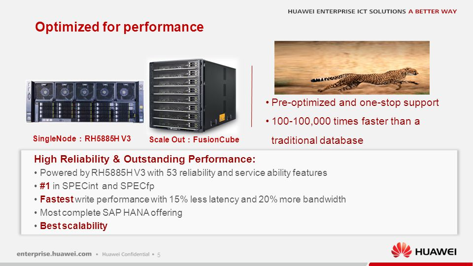 5 Optimized for performance Pre-optimized and one-stop support 100-100,000 times faster than a traditional database High Reliability & Outstanding Per