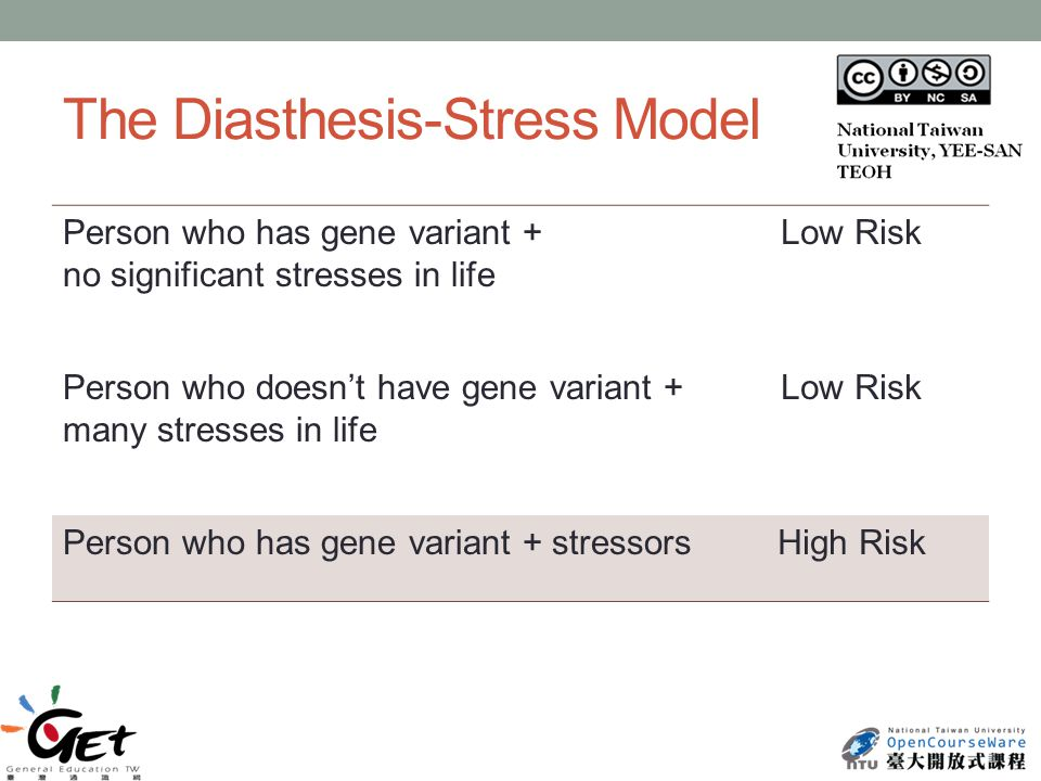 The Diasthesis-Stress Model Person who has gene variant + no significant stresses in life Low Risk Person who doesn't have gene variant + many stresses in life Low Risk Person who has gene variant + stressorsHigh Risk