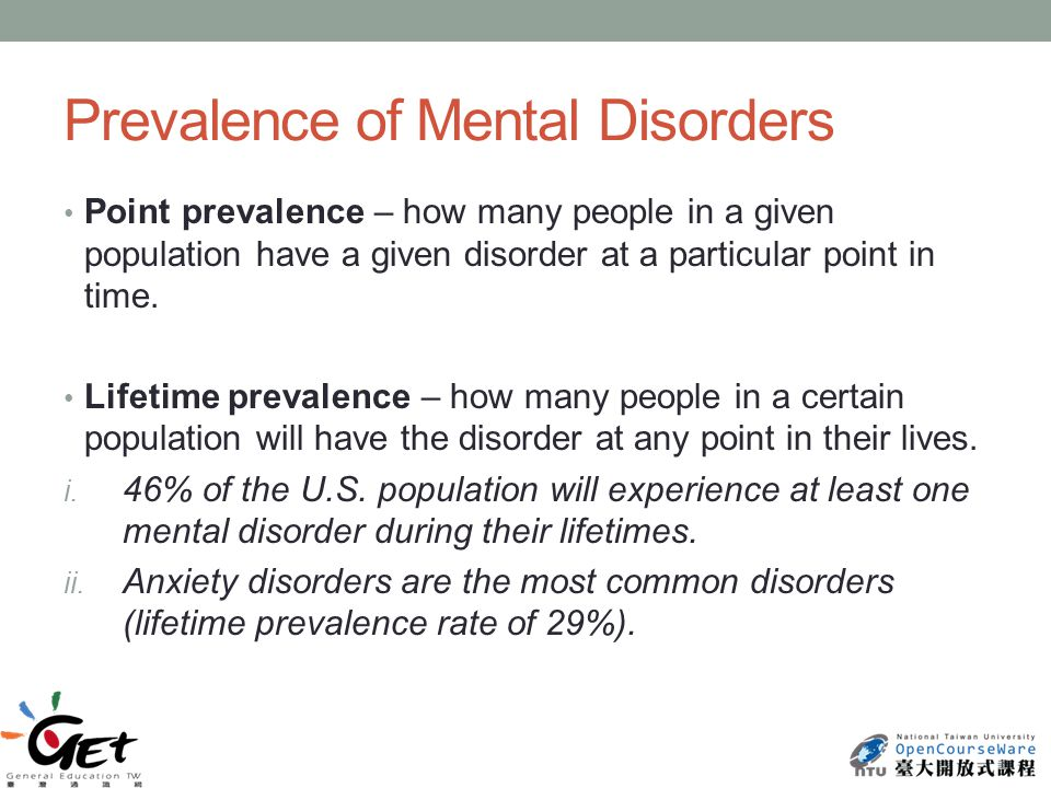 Prevalence of Mental Disorders Point prevalence – how many people in a given population have a given disorder at a particular point in time.