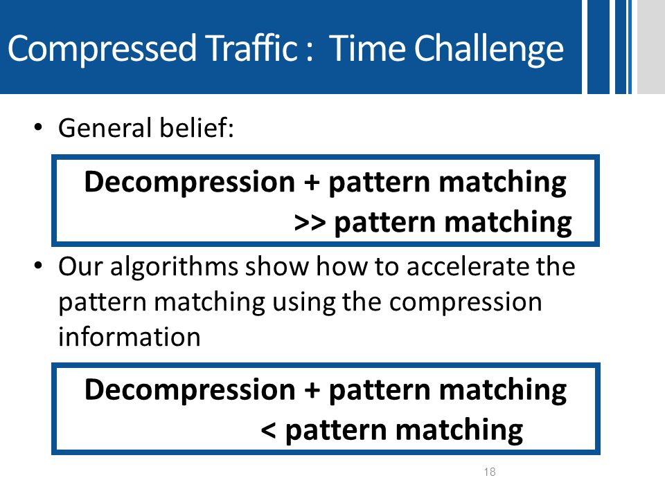 General belief: Our algorithms show how to accelerate the pattern matching using the compression information Compressed Traffic : Time Challenge 18 De