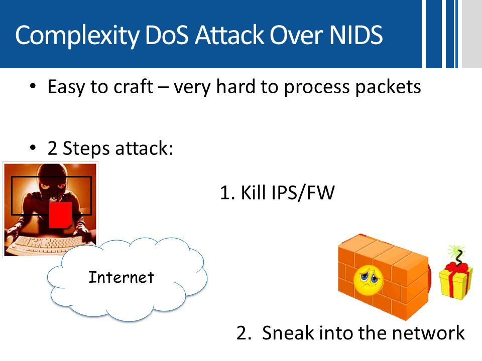 Complexity DoS Attack Over NIDS Easy to craft – very hard to process packets 2 Steps attack: Attacker Internet 2. Sneak into the network 1. Kill IPS/F