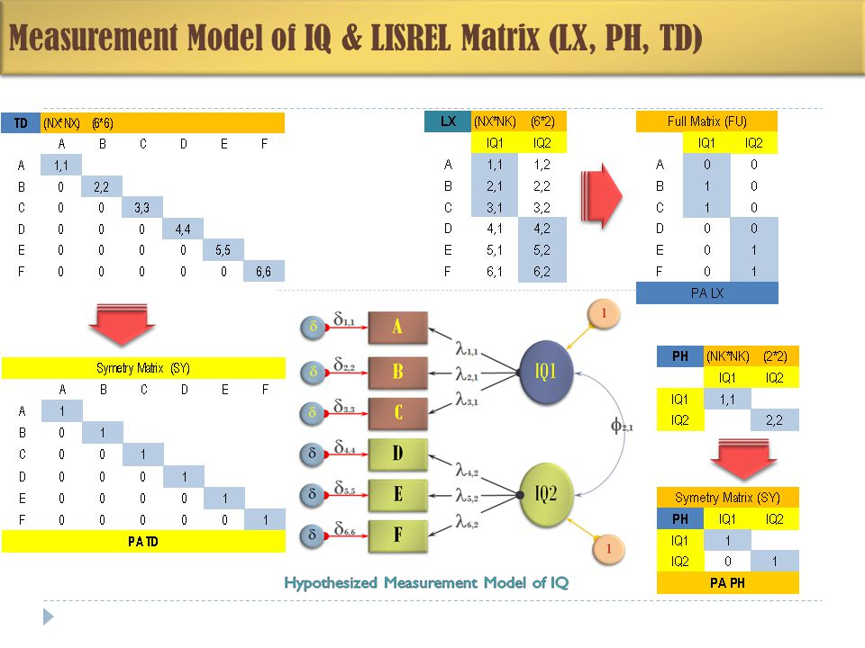 Measurement Model of IQ & LISREL Matrix (LX, PH, TD)