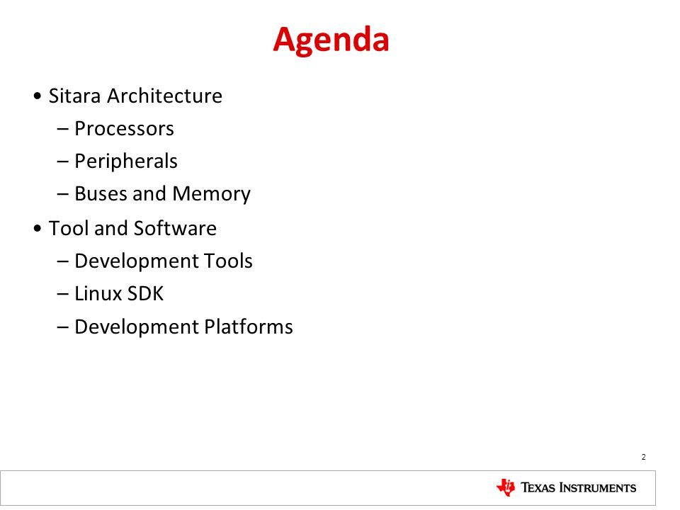 Tools and Software: Development Platforms Sitara Device Overview 63