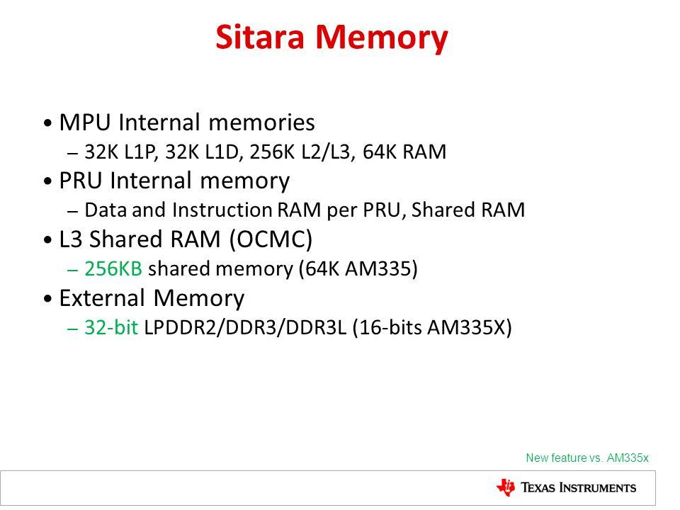 Sitara Memory MPU Internal memories – 32K L1P, 32K L1D, 256K L2/L3, 64K RAM PRU Internal memory – Data and Instruction RAM per PRU, Shared RAM L3 Shar