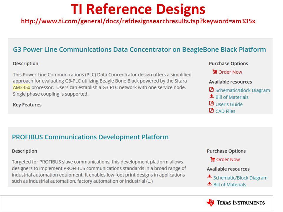 TI Reference Designs http://www.ti.com/general/docs/refdesignsearchresults.tsp?keyword=am335x