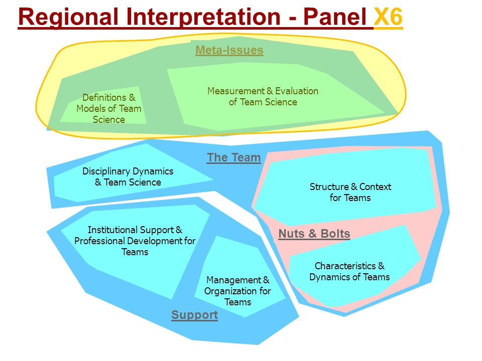 Support The Team Nuts & Bolts Meta-Issues Management & Organization for Teams Characteristics & Dynamics of Teams Definitions & Models of Team Science Institutional Support & Professional Development for Teams Disciplinary Dynamics & Team Science Measurement & Evaluation of Team Science Structure & Context for Teams Regional Interpretation - Panel X6