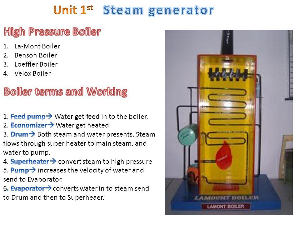 1.La-Mont Boiler 2.Benson Boiler 3.Loeffler Boiler 4.Velox Boiler