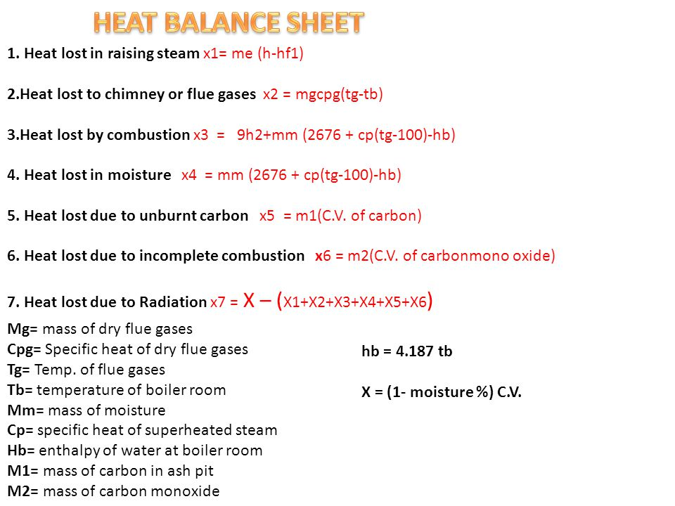 1. Heat lost in raising steam x1= me (h-hf1) 2.Heat lost to chimney or flue gases x2 = mgcpg(tg-tb) 3.Heat lost by combustion x3 = 9h2+mm (2676 + cp(t