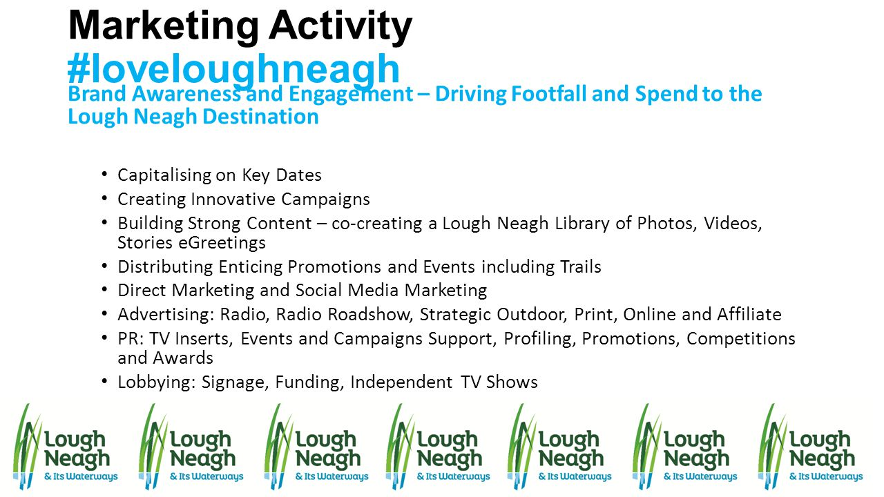 Marketing Activity #loveloughneagh Brand Awareness and Engagement – Driving Footfall and Spend to the Lough Neagh Destination Capitalising on Key Date