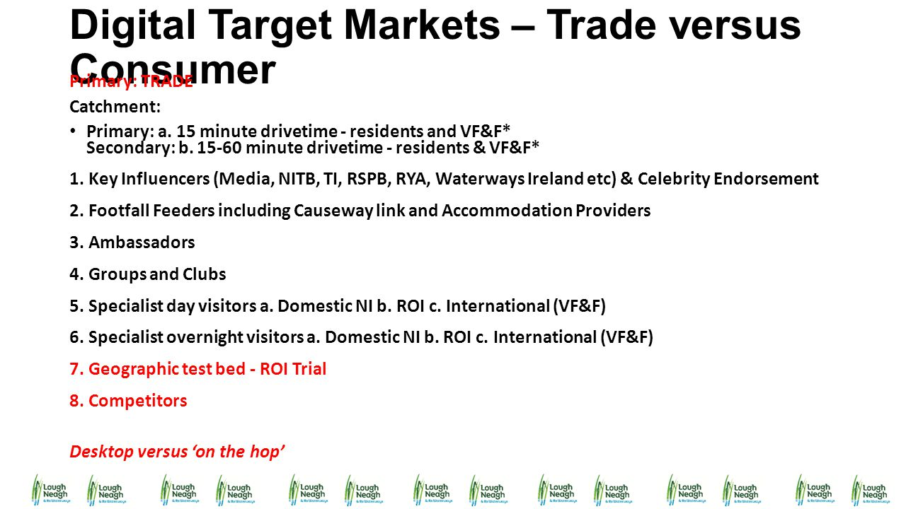 Digital Target Markets – Trade versus Consumer Primary: TRADE Catchment: Primary: a. 15 minute drivetime - residents and VF&F* Secondary: b. 15-60 min