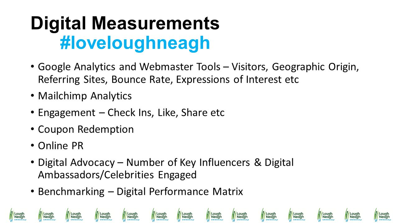 Digital Measurements #loveloughneagh Google Analytics and Webmaster Tools – Visitors, Geographic Origin, Referring Sites, Bounce Rate, Expressions of