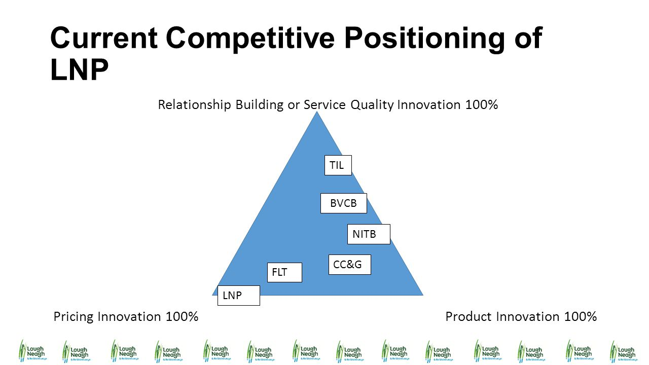 Current Competitive Positioning of LNP Relationship Building or Service Quality Innovation 100% Pricing Innovation 100% Product Innovation 100% TIL FL