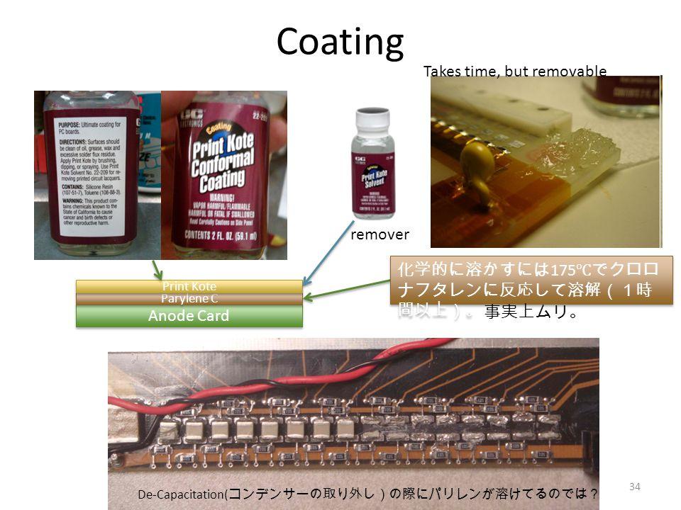 Coating Anode Card Parylene C Print Kote remover Takes time, but removable 化学的に溶かすには 175 ℃でクロロ ナフタレンに反応して溶解(1時 間以上)。 事実上ムリ。 De-Capacitation( コンデンサーの取り外し)の際にパリレンが溶けてるのでは? 34