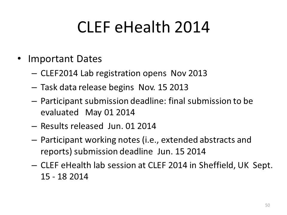 CLEF eHealth 2014 Important Dates – CLEF2014 Lab registration opens Nov 2013 – Task data release begins Nov. 15 2013 – Participant submission deadline