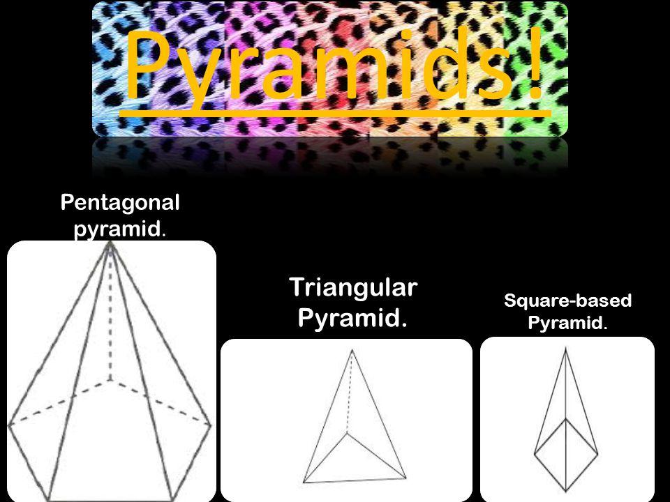 Pyramids! Pentagonal pyramid. Triangular Pyramid. Square-based Pyramid.