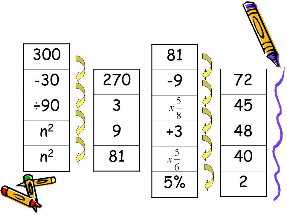 300 -30 ÷90 n2n2 n2n2 81 -9 +3 5% 270 3 9 81 72 45 48 40 2