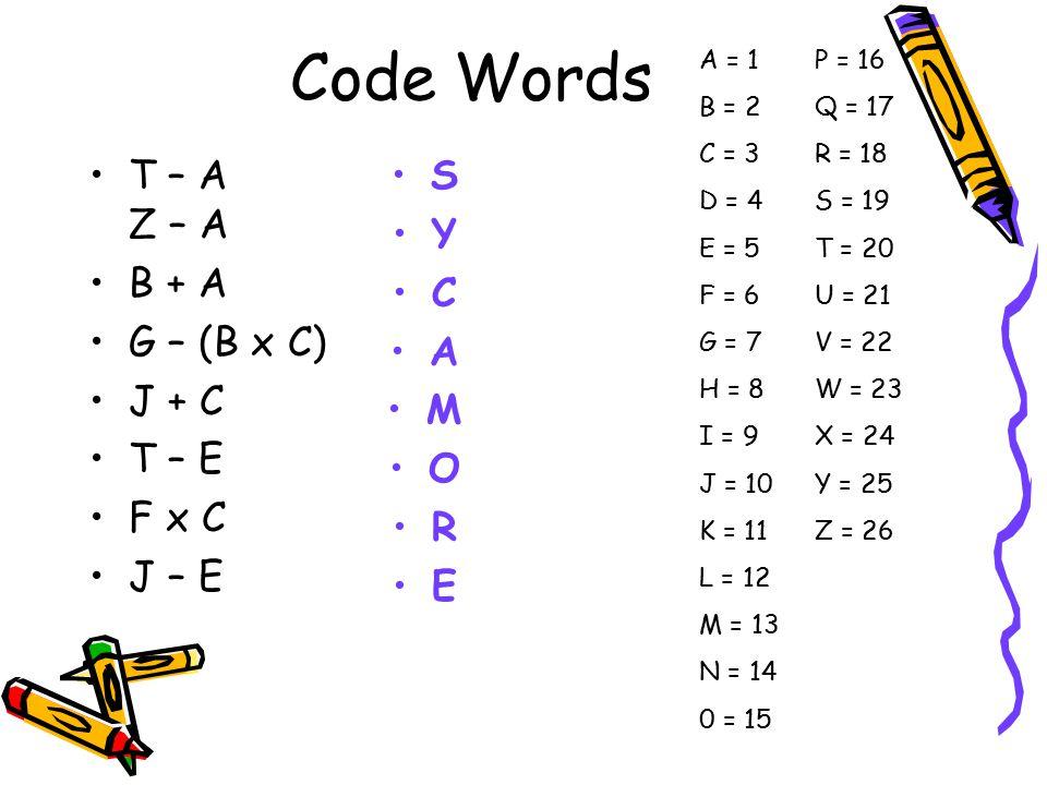 Code Words T – A Z – A B + A G – (B x C) J + C T – E F x C J – E S Y C A M O R E A = 1 B = 2 C = 3 D = 4 E = 5 F = 6 G = 7 H = 8 I = 9 J = 10 K = 11 L = 12 M = 13 N = 14 0 = 15 P = 16 Q = 17 R = 18 S = 19 T = 20 U = 21 V = 22 W = 23 X = 24 Y = 25 Z = 26