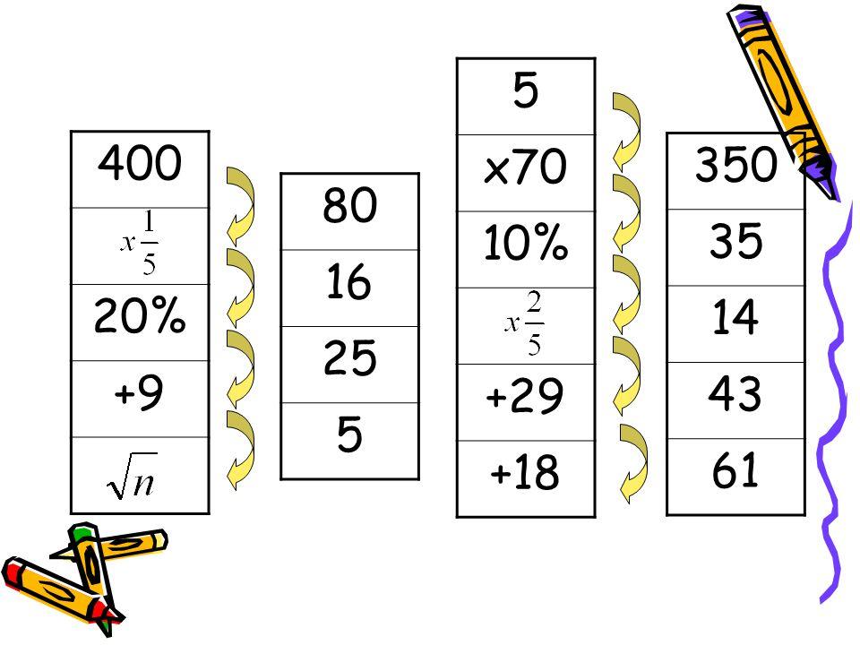 400 20% +9 5 x70 10% +29 +18 80 16 25 5 350 35 14 43 61