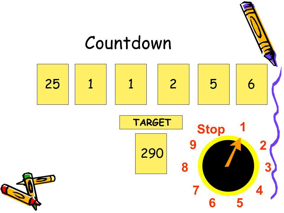 1 2 3 4 56 7 8 9 Stop Countdown 251125290 TARGET 6