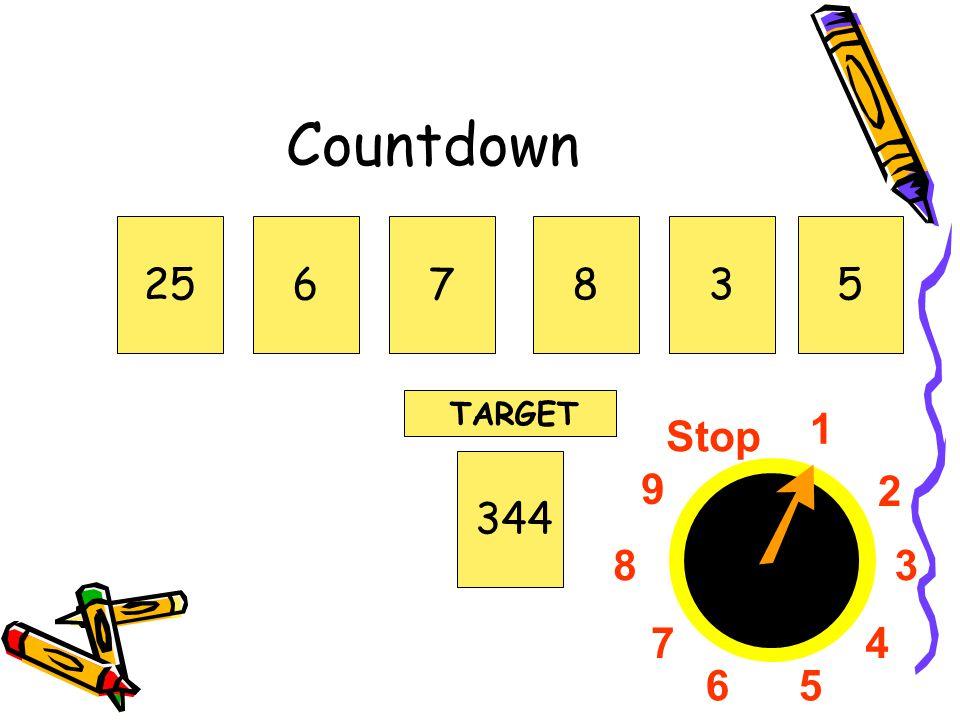 1 2 3 4 56 7 8 9 Stop Countdown 256783344 TARGET 5