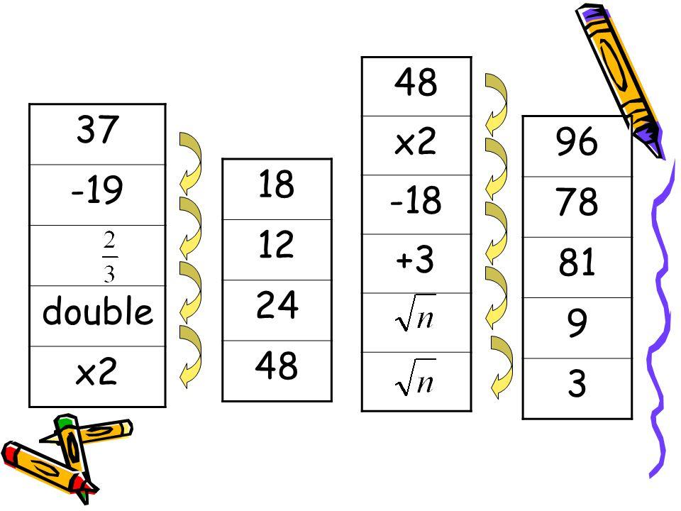 37 -19 double x2 48 x2 -18 +3 18 12 24 48 96 78 81 9 3