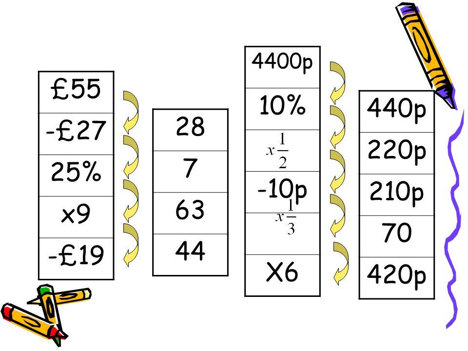 £55 -£27 25% x9 -£19 4400p 10% -10p X6 28 7 63 44 440p 220p 210p 70 420p