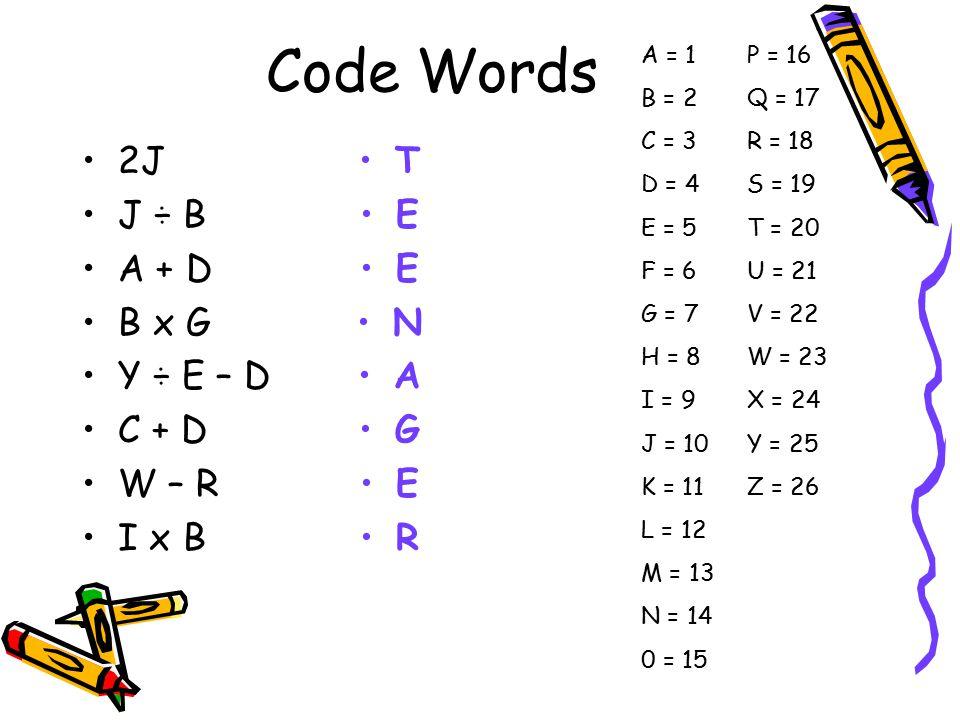 Code Words 2J J ÷ B A + D B x G Y ÷ E – D C + D W – R I x B T E E N A G E R A = 1 B = 2 C = 3 D = 4 E = 5 F = 6 G = 7 H = 8 I = 9 J = 10 K = 11 L = 12 M = 13 N = 14 0 = 15 P = 16 Q = 17 R = 18 S = 19 T = 20 U = 21 V = 22 W = 23 X = 24 Y = 25 Z = 26