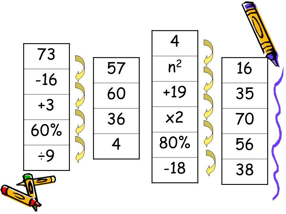 73 -16 +3 60% ÷9 4 n2n2 +19 x2 80% -18 57 60 36 4 16 35 70 56 38
