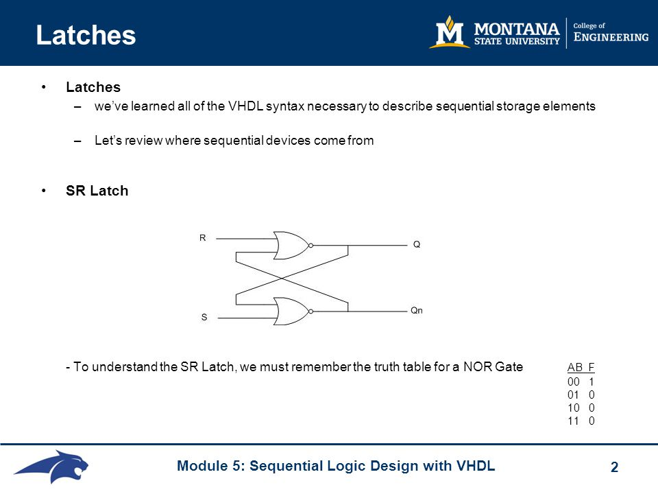 Module 5: Sequential Logic Design with VHDL 2 Latches –we've learned all of the VHDL syntax necessary to describe sequential storage elements –Let's review where sequential devices come from SR Latch - To understand the SR Latch, we must remember the truth table for a NOR Gate AB F 00 1 01 0 10 0 11 0