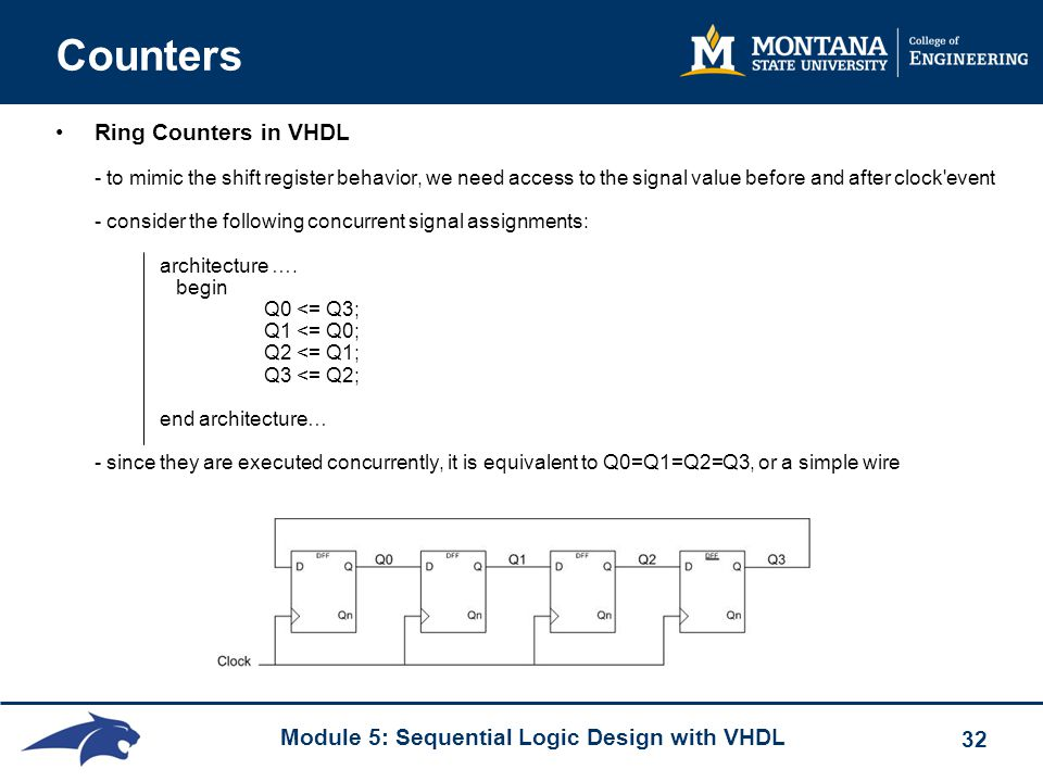 Module 5: Sequential Logic Design with VHDL 32 Counters Ring Counters in VHDL - to mimic the shift register behavior, we need access to the signal val