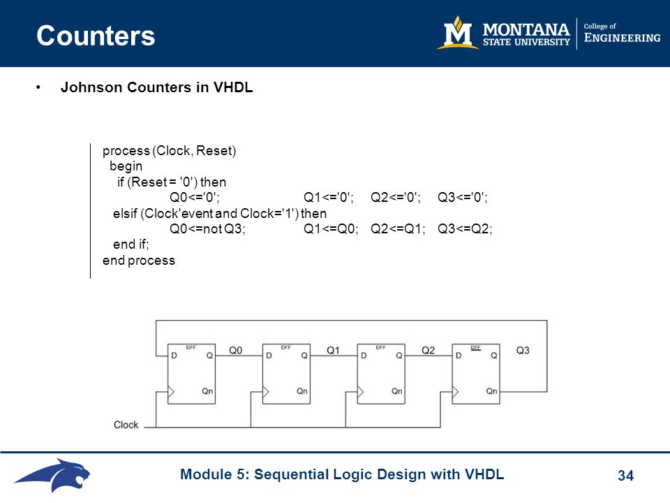 Module 5: Sequential Logic Design with VHDL 34 Counters Johnson Counters in VHDL process (Clock, Reset) begin if (Reset = '0') then Q0<='0'; Q1<='0';Q