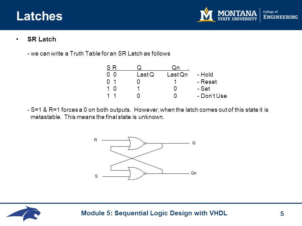 Module 5: Sequential Logic Design with VHDL 5 Latches SR Latch - we can write a Truth Table for an SR Latch as follows S RQ Qn. 0 0Last QLast Qn - Hol