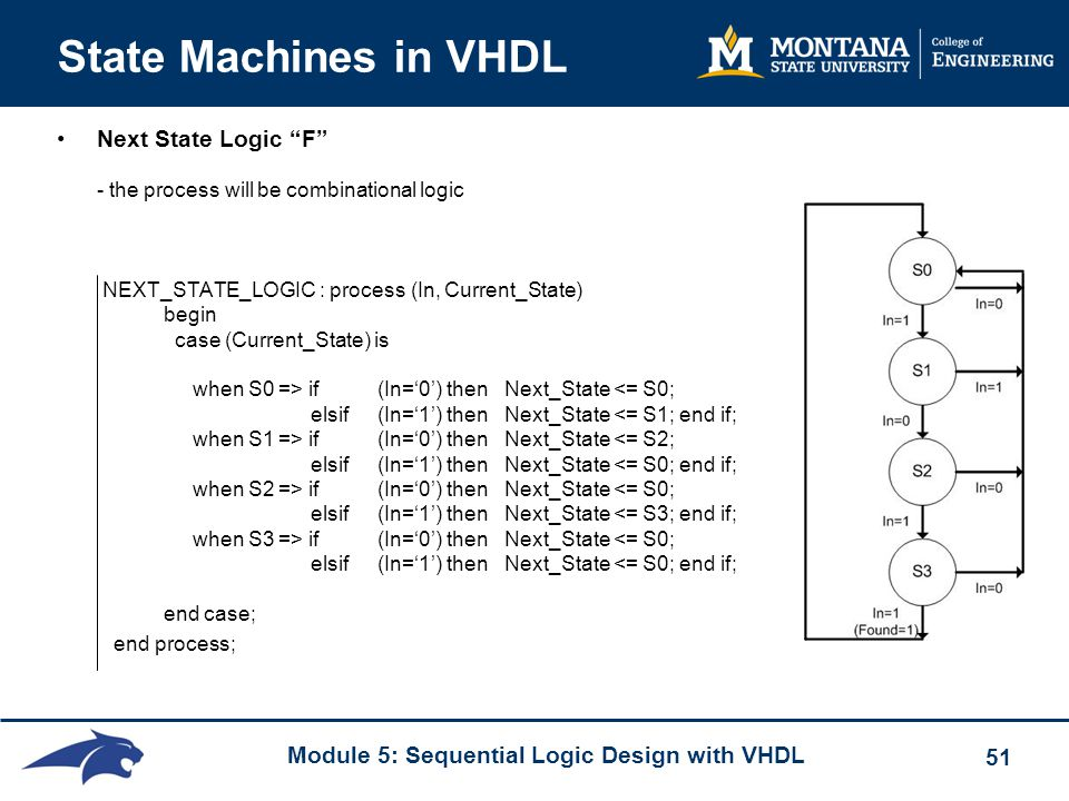 Module 5: Sequential Logic Design with VHDL 51 State Machines in VHDL Next State Logic F - the process will be combinational logic NEXT_STATE_LOGIC : process (In, Current_State) begin case (Current_State) is when S0 => if (In='0') then Next_State if (In='0') then Next_State if (In='0') then Next_State if (In='0') then Next_State <= S0; elsif(In='1') then Next_State <= S0; end if; end case; end process;