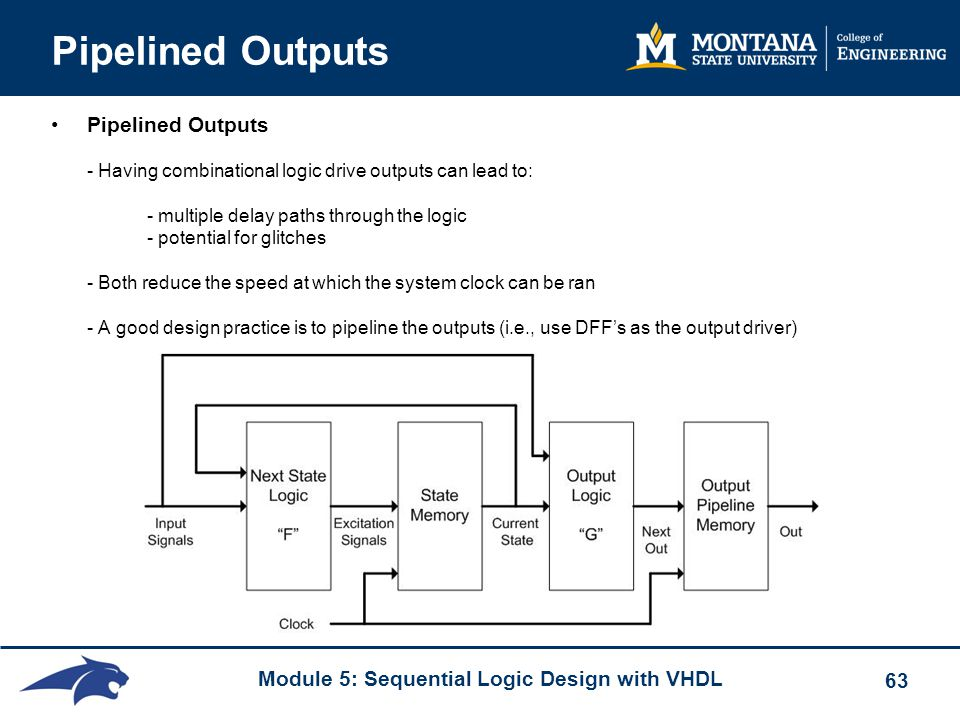 Module 5: Sequential Logic Design with VHDL 63 Pipelined Outputs Pipelined Outputs - Having combinational logic drive outputs can lead to: - multiple