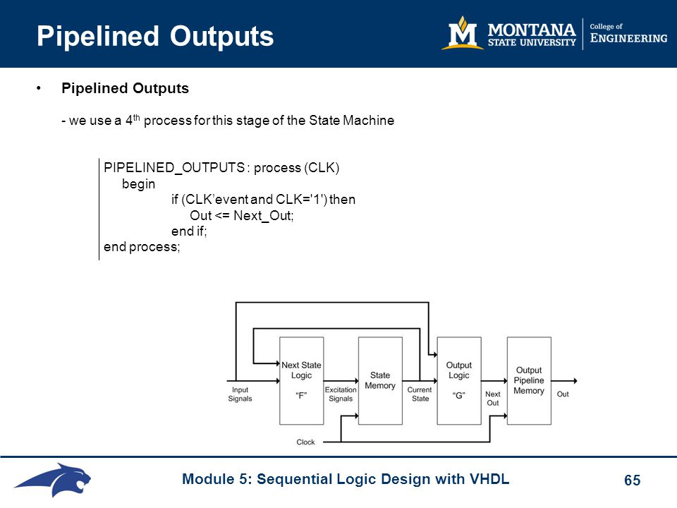 Module 5: Sequential Logic Design with VHDL 65 Pipelined Outputs Pipelined Outputs - we use a 4 th process for this stage of the State Machine PIPELIN