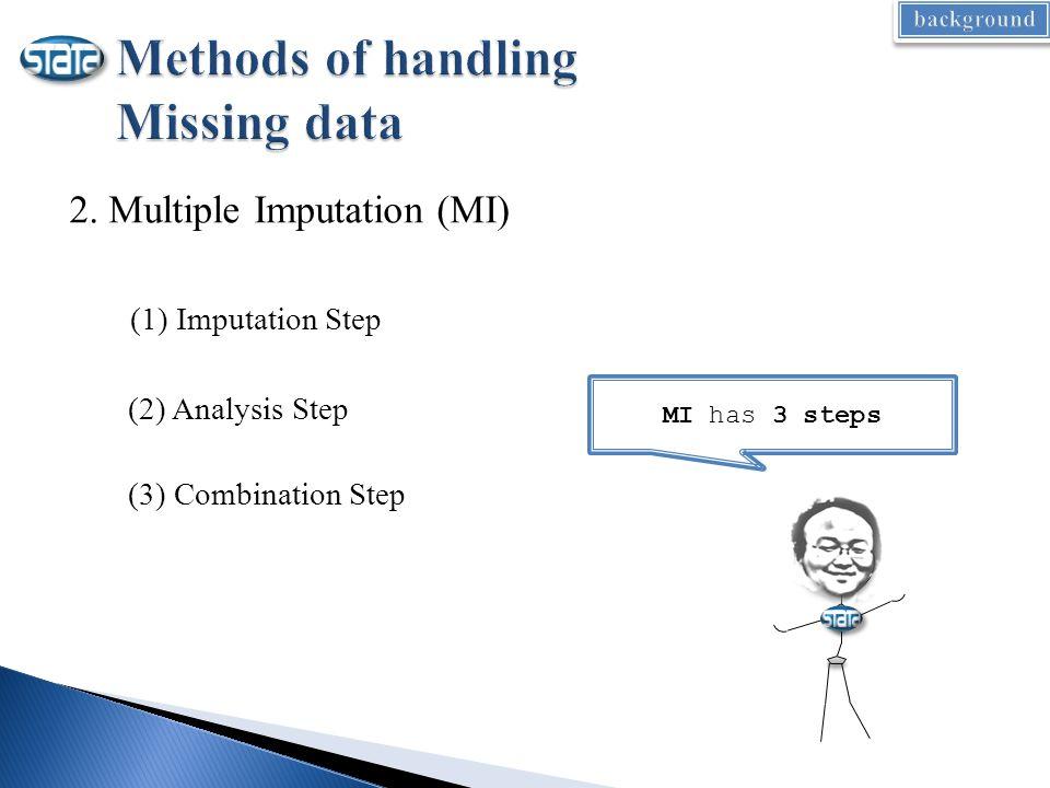 2. Multiple Imputation (MI) (1) Imputation Step (2) Analysis Step (3) Combination Step MI has 3 steps