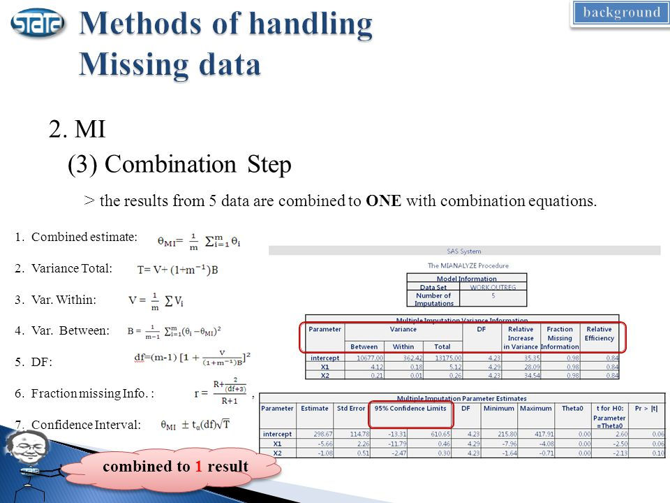 2. MI (3) Combination Step > the results from 5 data are combined to ONE with combination equations. 1.Combined estimate: 2.Variance Total: 3.Var. Wit
