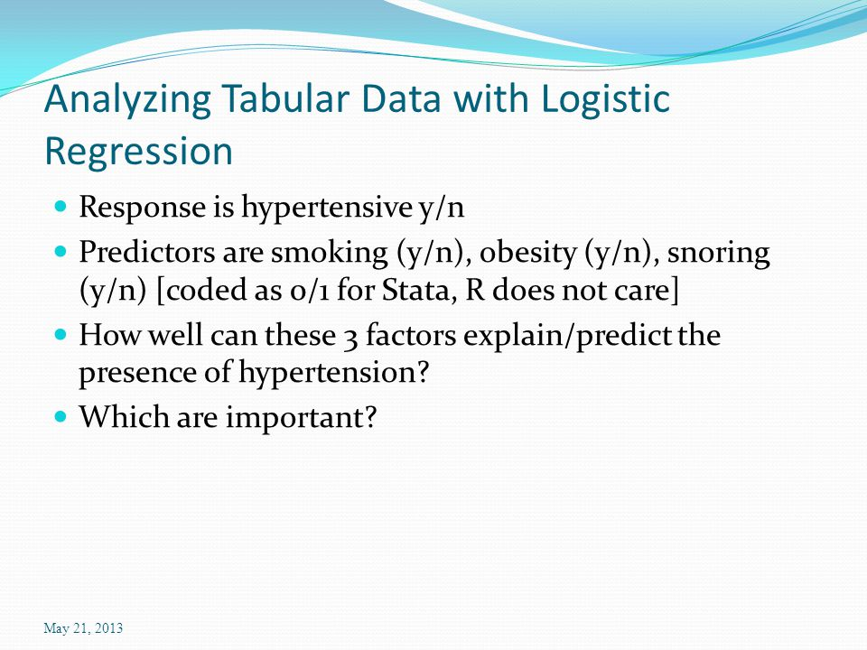 Analyzing Tabular Data with Logistic Regression Response is hypertensive y/n Predictors are smoking (y/n), obesity (y/n), snoring (y/n) [coded as 0/1 for Stata, R does not care] How well can these 3 factors explain/predict the presence of hypertension.