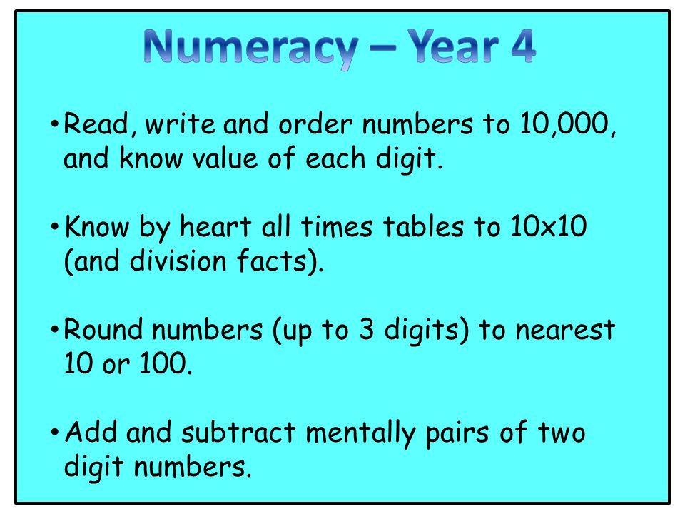 Read, write and order numbers to 10,000, and know value of each digit.