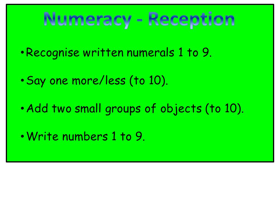 Recognise written numerals 1 to 9. Say one more/less (to 10).