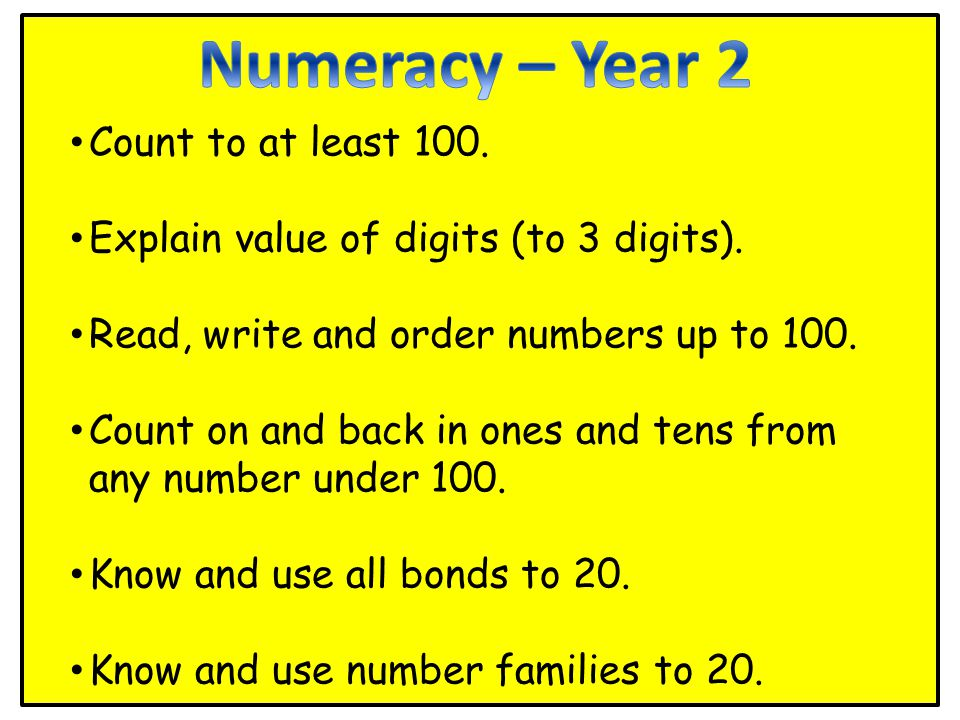 Count to at least 100. Explain value of digits (to 3 digits).