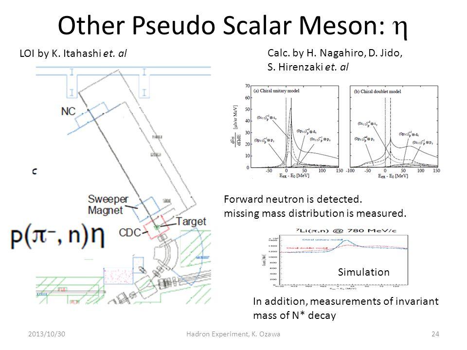 Other Pseudo Scalar Meson:  2013/10/30Hadron Experiment, K. Ozawa LOI by K. Itahashi et. al Calc. by H. Nagahiro, D. Jido, S. Hirenzaki et. al Forwar