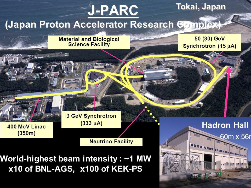 J-PARC (Japan Proton Accelerator Research Complex) Tokai, Japan 50 (30) GeV Synchrotron (15  A) 400 MeV Linac (350m) 3 GeV Synchrotron (333  A) Mate