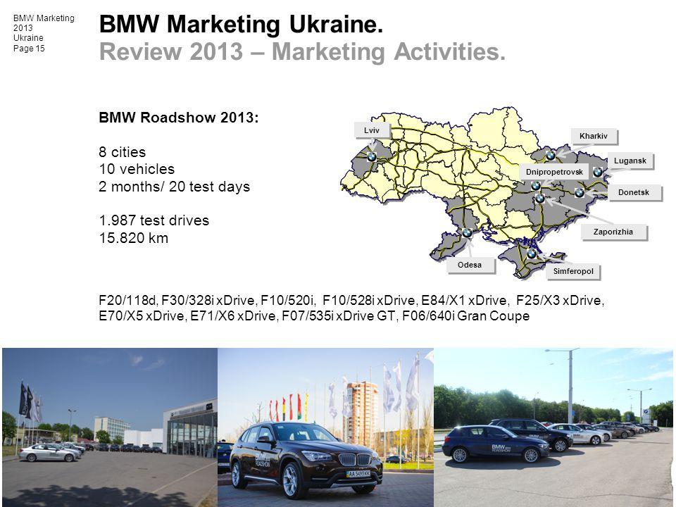 BMW Marketing 2013 Ukraine Page 15 BMW Marketing Ukraine. Review 2013 – Marketing Activities. BMW Roadshow 2013: 8 cities 10 vehicles 2 months/ 20 tes